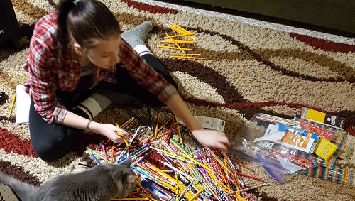 Danica sorting pencils