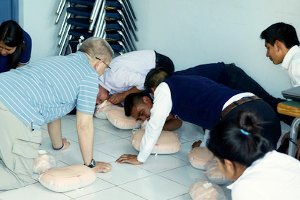teaching first aid in Guatemala