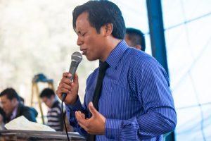 Pastor speaking at church