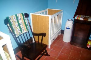 crib and rocking chair - we're ready for babies!