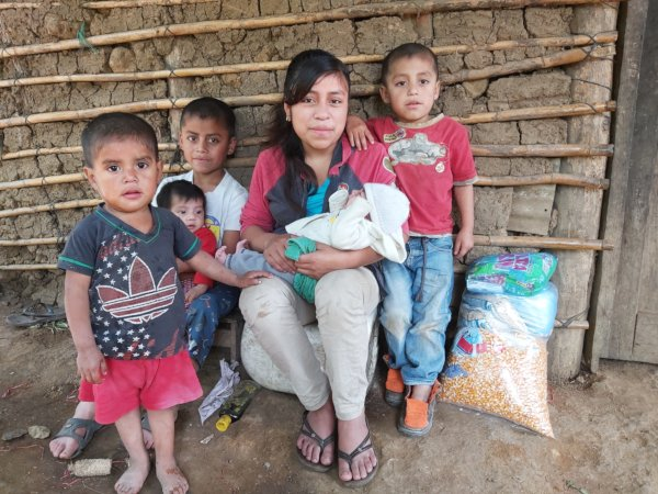 Family with gift of food