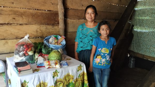 Alejandra and her mother with their food hamper